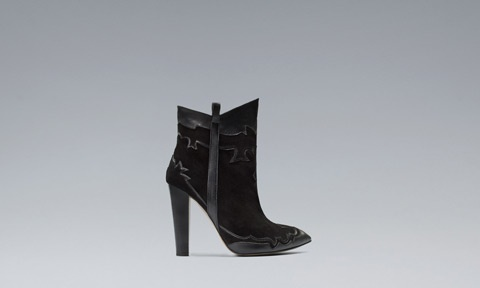 HIGH-HEEL COWBOY ANKLE BOOT-black-Zara-