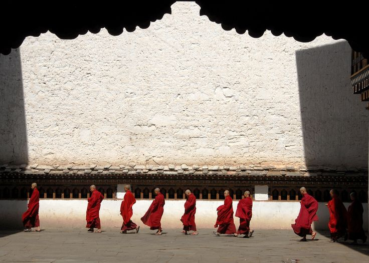 Procession of monks in Rinpung, Bhutan