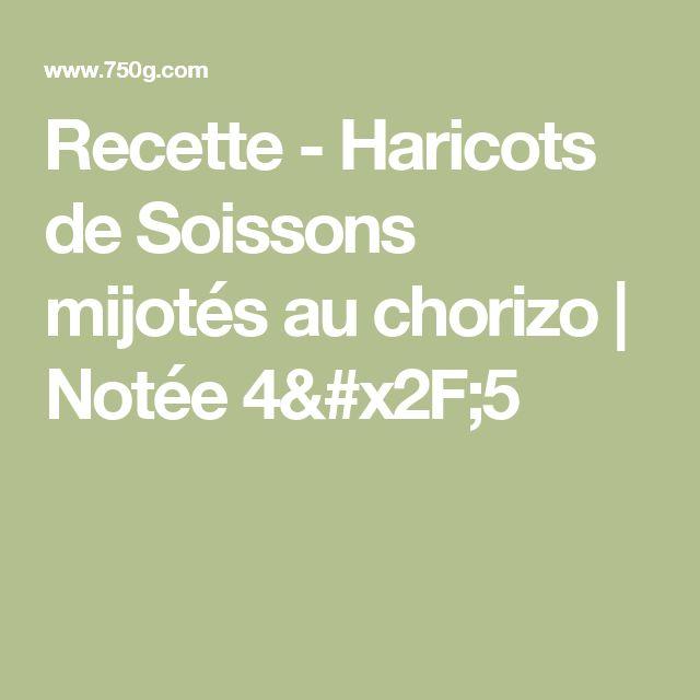 Recette - Haricots de Soissons mijotés au chorizo | Notée 4/5