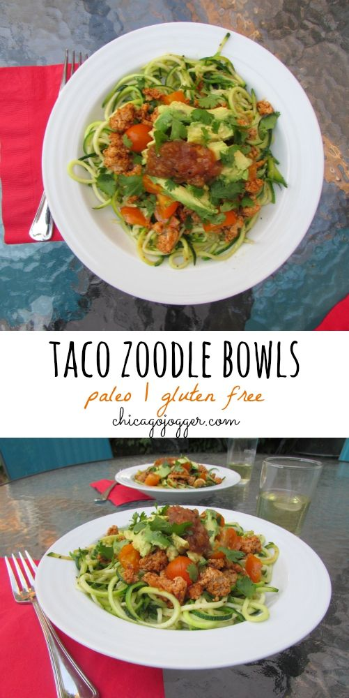 Taco Zoodle Bowls - a healthy, paleo & gluten free dinner | chicagojogger.com