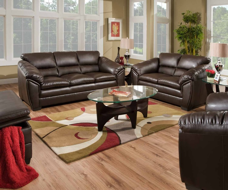 Furniture U0026 Design :: Living Room Furniture :: Sofas And Sets :: Leather  Sofa Sets :: 2 Pc Kenya Collection Godiva Espresso Bonded Leather Match  Sofa And ...