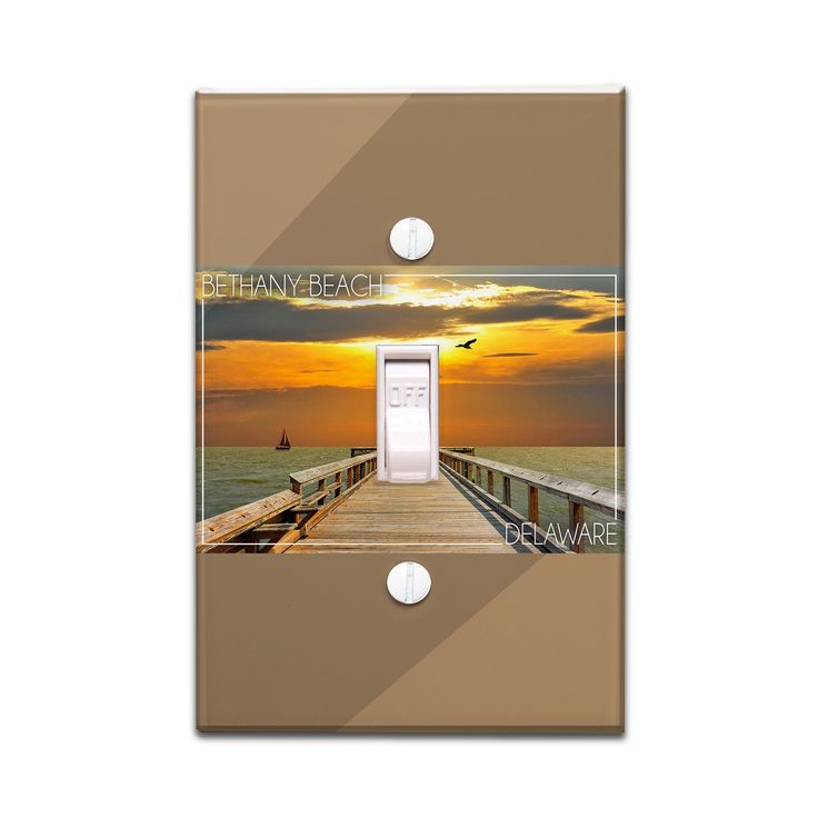Bethany Beach DE - Dock at Sunset - LP Photography (Light Switchplate Cover)