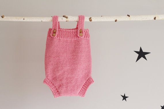 Pink Baby Romper Hand Knit Jumpsuit Knitted Babywear by LalaKa