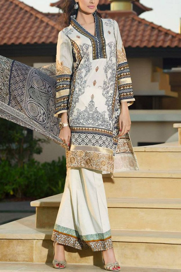 Buy Off-White Embroidered Cotton Lawn Dress by HSY by Itthad Embroidered Lawn Collection 2015