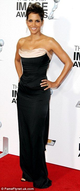 Black and white: Halle stunned in a Vivienne Westwood dress ~ NAACP Awards, February 1, 2013 ~ Picture perfect: While many stars went for colour Halle opted for classic black as she showed off her amazing figure on Friday evening