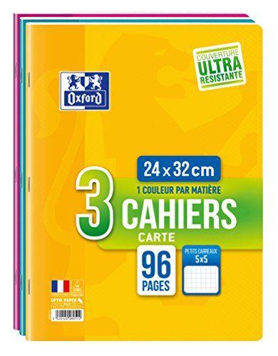 Oxford Lot de 3 Cahiers 96 pages 24 x 32 cm Couleurs Assortis: 96 pages 90g Petits carreaux 5x5 Papier blanc 90g qualité Optik Paper® Cet…