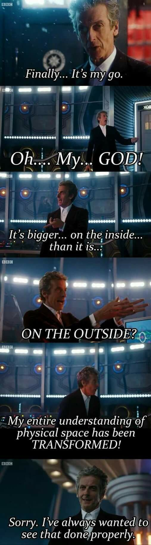 This was honestly one of the best moments. Capaldi is hilarious!