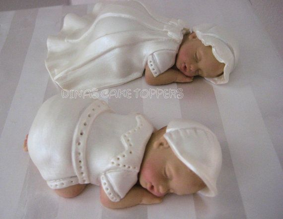 TWINS Baptism Christening Cake Topper white by DinasCakeToppers, $55.00