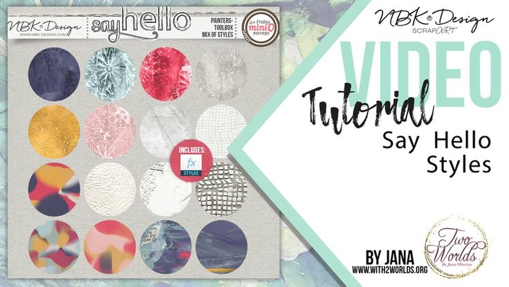 Say Hello Collection styles to use for digital paint, digital scrapbooking layouts