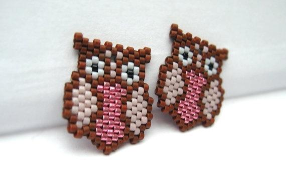 Earrings - Pinky Owls - Metallic Pink, Light Lavender and Cognac Brown - 24k…