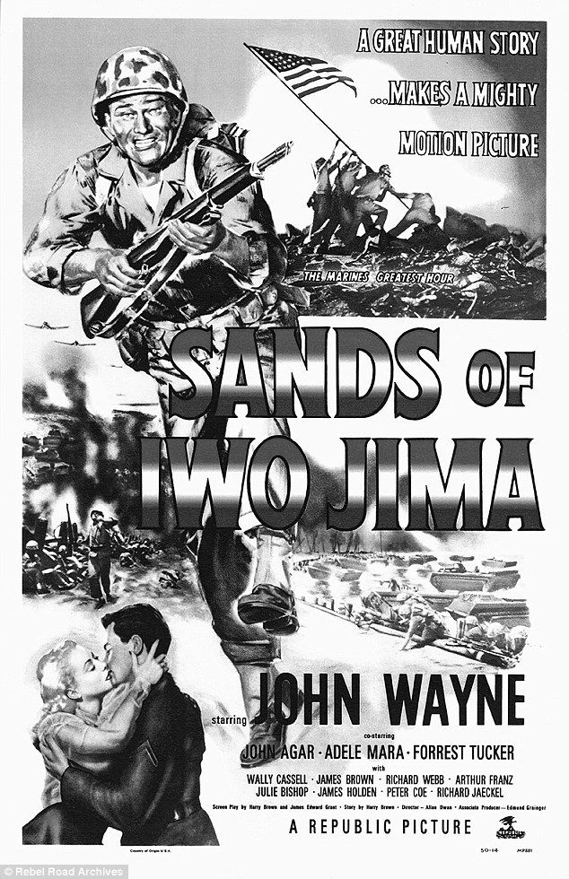 Poster boy: The movie poster from the 1949 film Sands of Iwo Jima, a drama set during World War II that follows a troop of United States Marines from training to the Battle of Iwo Jima. Wayne played a relentlessly tough Marine sergeant disliked by his troops for his harsh treatment. He earned a Best Actor Oscar nomination for his role but his lack of military service and anti-communist activities may have cost him the win  #johnwayne