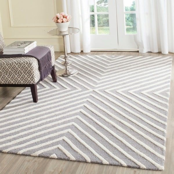 Safavieh Hand Tufted Moroccan Cambridge Silver Ivory Wool Rug 6 X 9