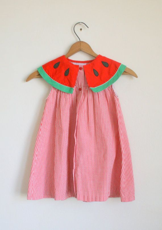 Vintage WATERMELON Dress....size 4 girls....kids. by retroandme