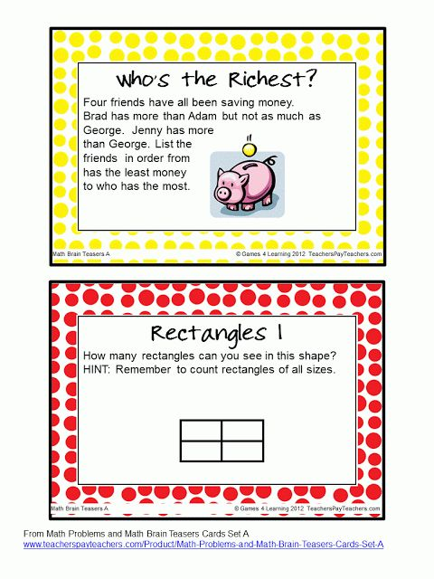 FREEBIE - Brain Teasers Task Cards - I love math that makes them think! :)