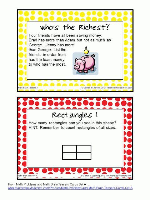 FREEBIE - Brain Teasers Task Cards - I love math that makes them think! :)