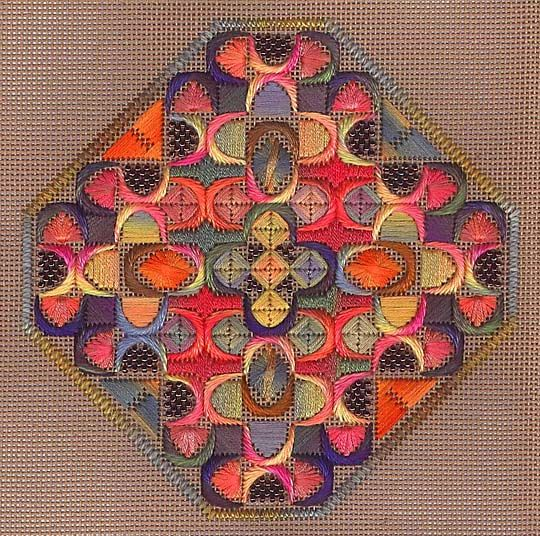 Orna Willis design using Waterlilies and Watercolors free on The Caron Collection website. Also a discussion of attaching beads to canvas - so the bead sits in the hole instead of on the thread intersection