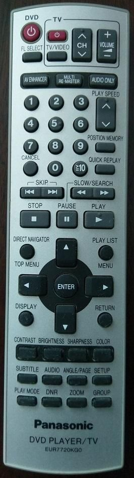 Panasonic EUR7720KG0 DVD TV Remote Control