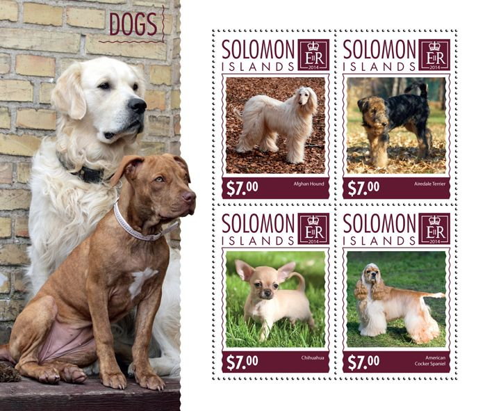 Post stamp Solomon Islands SLM 14614 a	Dogs (Afghan Hound, {…}, American Cocker Spaniel)