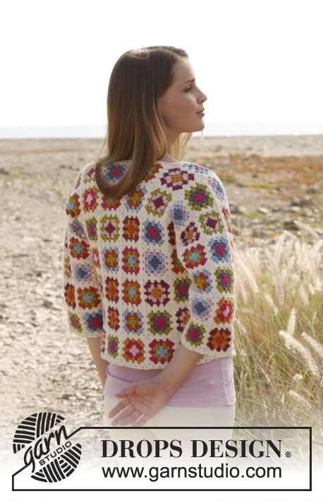 """Crochet DROPS jacket with ¾ sleeves and granny squares in """"Alpaca"""". Size: S - XXXL ~ DROPS Design"""