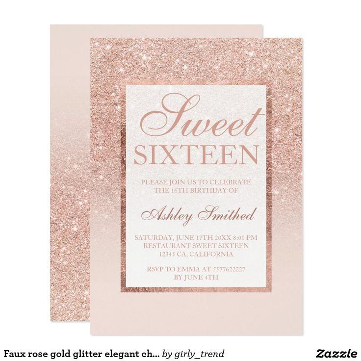 Faux rose gold glitter elegant chic Sweet 16 Card