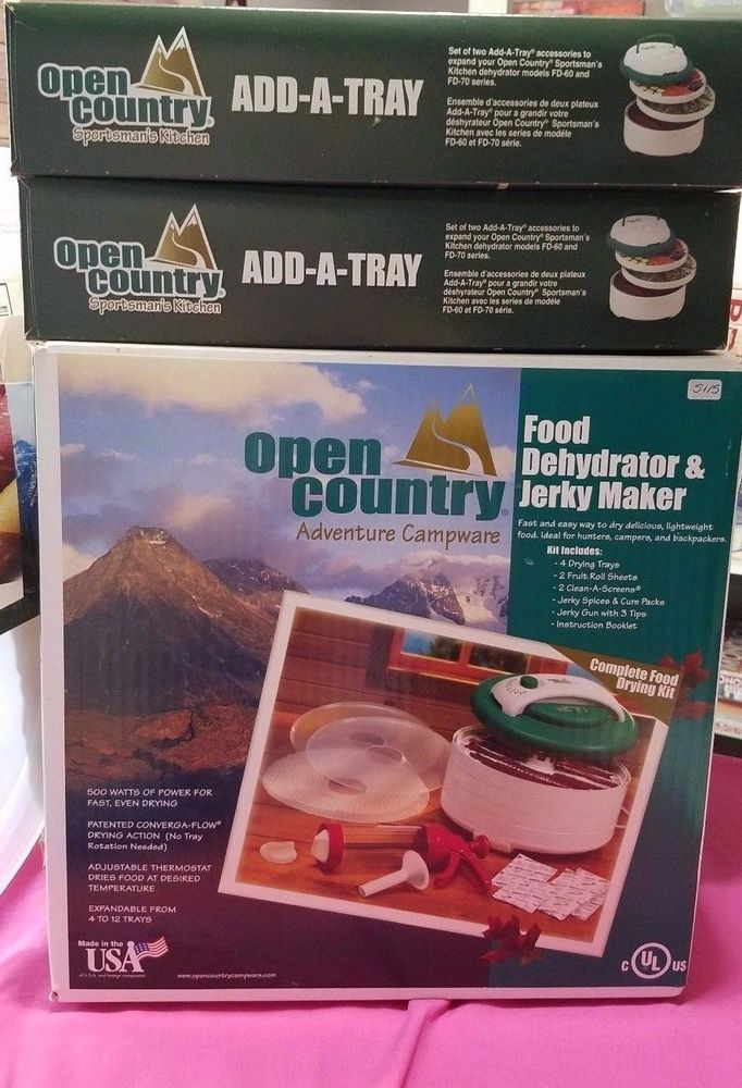 New Open Country Food Dehydrator &Jerky Maker + 2 Add A Tray +Fruit Roll Up Tray #OpenCountry