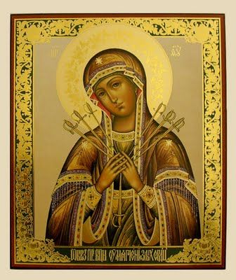 Traditional Icon of Our Lady of Sorrows; whose feast day is September 15.
