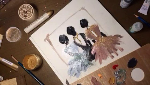 "Sketching ideas with gouache paint. More on http://www.paperfashion.net  Music: ""Children Arrive"" from the Finding Neverland Soundtrack"