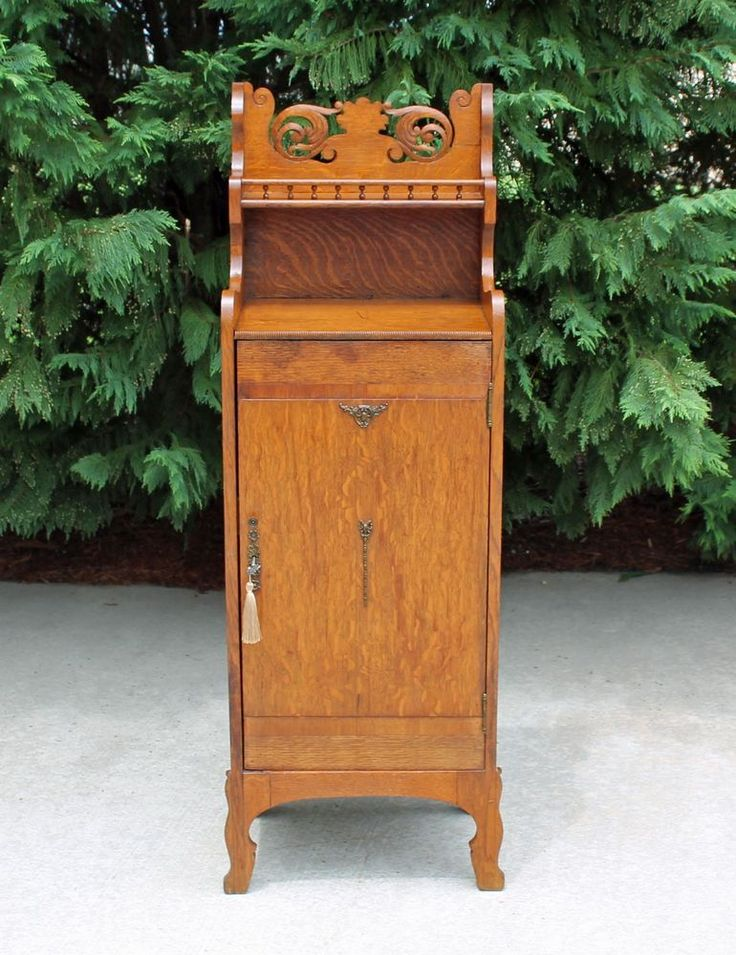 Fancy Tiger Oak Victorian Sheet Music / Side Cabinet with Working Key c1900 #Victorian