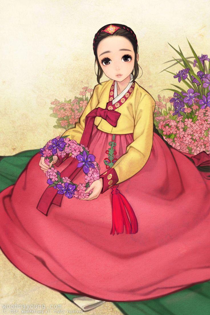 한복 Hanbok : Korean traditional clothes[dress] WOOHNAYOUNG[흑요석] — A girl with a garland Digital drawing, 2014 Just...