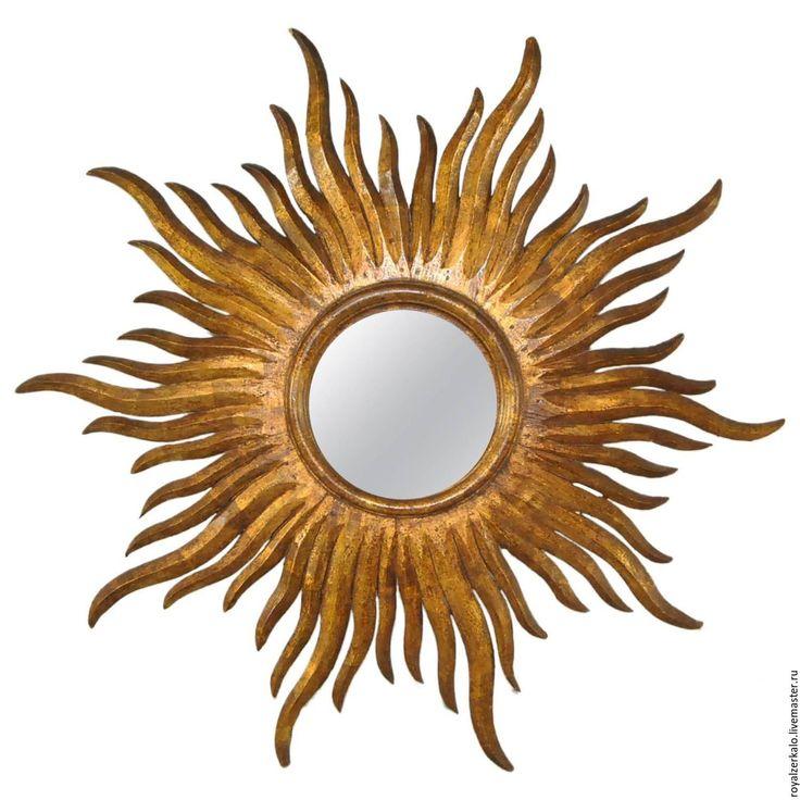 Купить Зеркало солнце Богемия - золотой, зеркало солнце, настенное зеркало, интерьерное зеркало