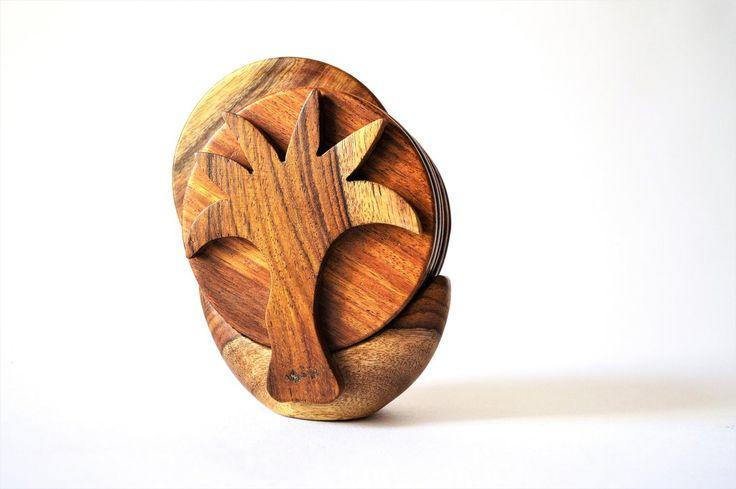 Egyptian palm Handmade rosewood coaster set | Drevené podšálky v palme