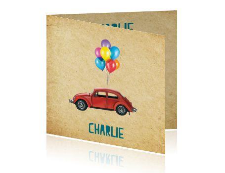 Geboortekaartje met VW Kever en ballonnen