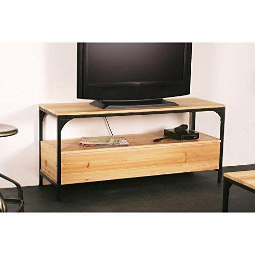 FINLANDEK Meuble TV TEOLLINEN 120 cm en métal et bois massif: Matière principale :Matière de la structure : Bois massif, Métal ; Matières :…