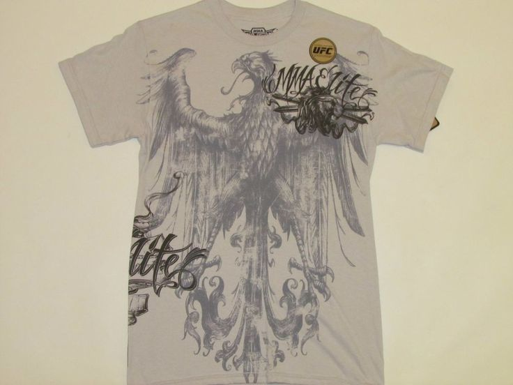 MMA ELITE Mens UFC Official LIcensed GREY T-SHIRT with HUGE EAGLE  NWT S  SMALL #MMAElite #GraphicTee