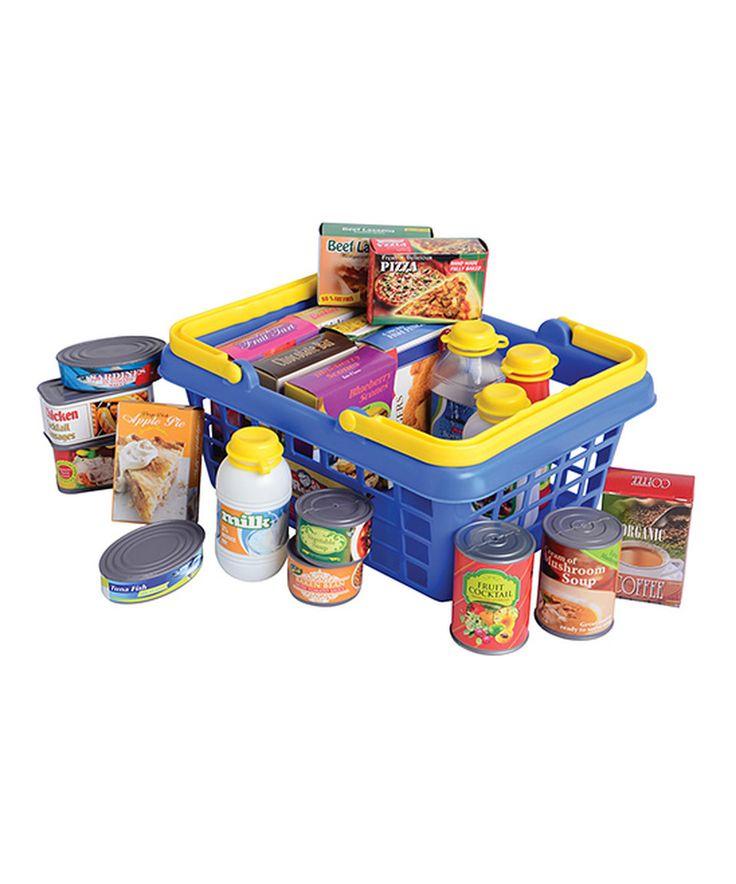 Look at this #zulilyfind! Toy Grocery Basket Set by Constructive Playthings #zulilyfinds
