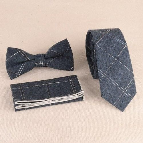 Gingham Pattern Tie Pocket Square and Bow Tie