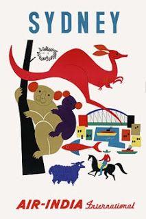 Air India to Sydney Australia | vintage Travel Poster | Vintage Venus