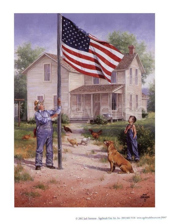 "~ God Bless America, our families and our friends ~ How Precious is this ~ Grandpa raising the Flag ~ and his Grandson with his right hand over his heart ~ the old Farmhouse, dogs and chickens ~ ""Ole Glory, LONG MAY SHE WAVE"" ~ ♥ :) ~ By Artist Jack Sorenson www.jacksorensonfineart.com ~ via pinterest https://www.facebook.com/photo.php?fbid=465506633525820=a.352643578145460.81730.352631861479965=1"