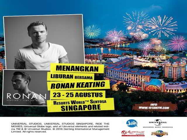 Menangkan Trip ke RWS Singapore Bersama Ronan Keating - Hai sobat MisterKuis! Ronan Keating akan gelar showcase di Singapore lho. Nah, kali ini ada kuis