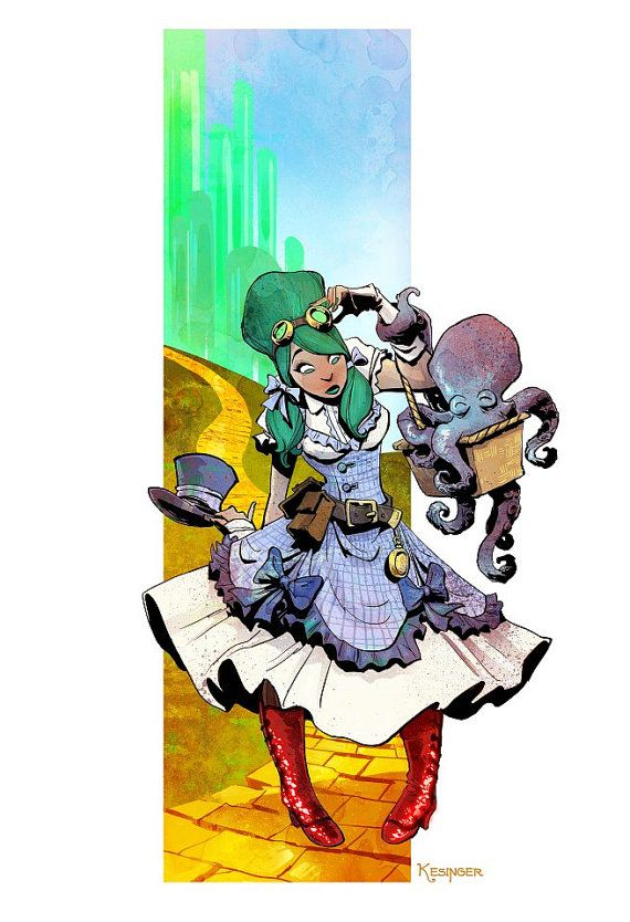 """""""Yellow Brick Road"""" Otto & Victoria Steampunk Wizard of Oz art by Brian Kesinger, various size prints available at the link"""