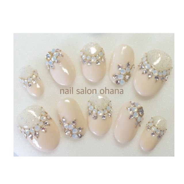 White and ivory jeweled nails