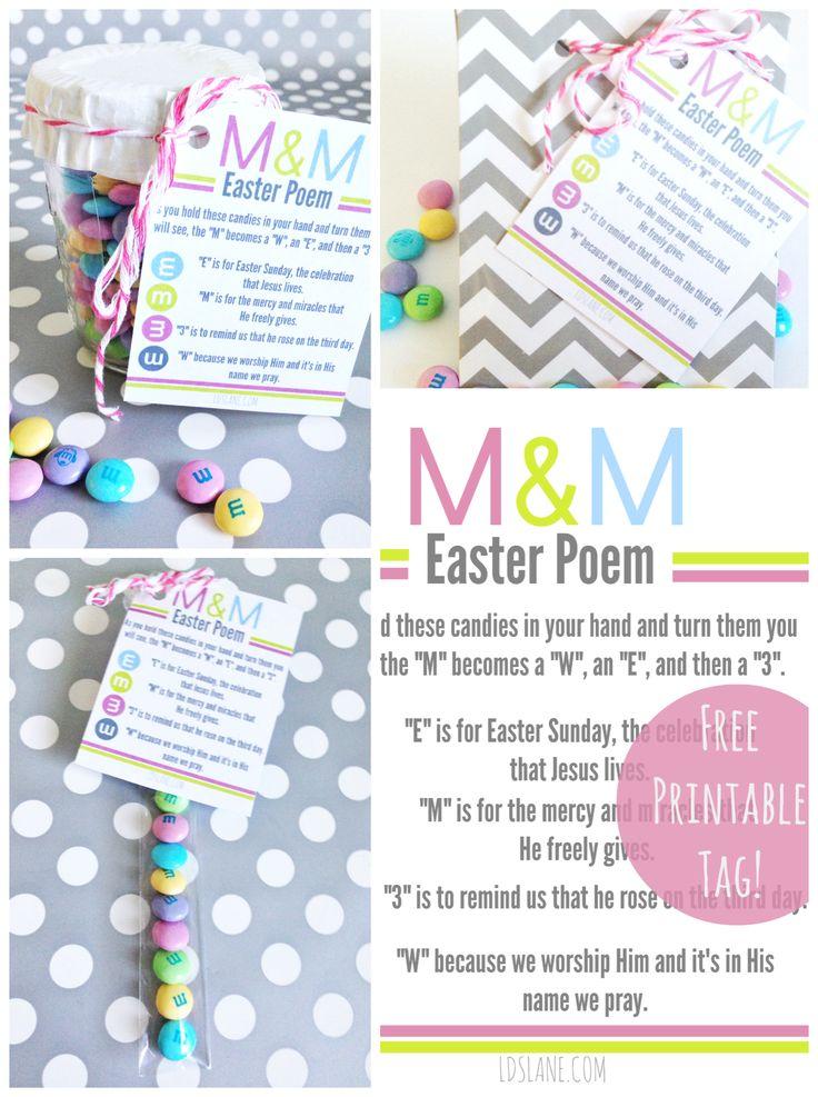 M&M Easter Poem Printables: Easter Idea, Mm Easter, Diy'S Crafts, Poem Printables, M M Easter, Printables Tags, Easter Poem, Easter M M, Free Printables
