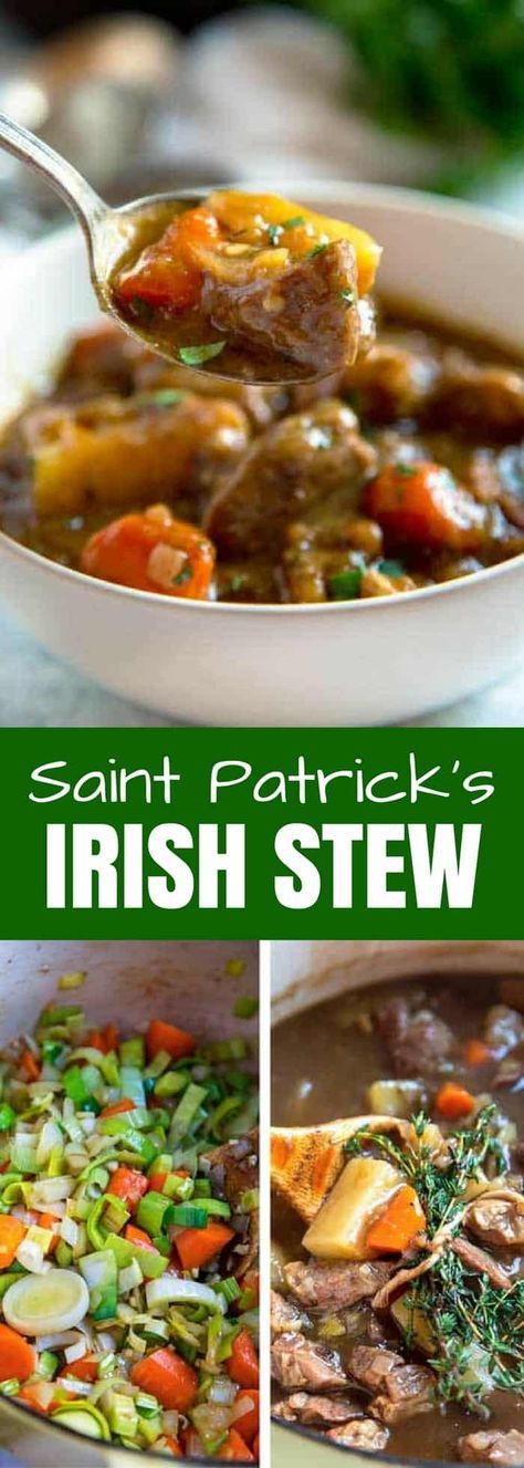 Irish Stew is pure comfort food and a classic recipe using browned lamb, onions, potatoes and thyme that simmer and develop a rich gravy made with beer and beef broth. Beef can easily be substituted for the lamb, too. #stpatricksday #stew