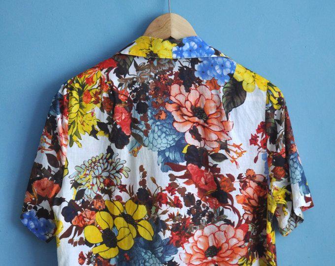 Vintage 90s Floral Pattern Short Sleeve Blouse Button Up Flower Print Shirt Women S Summer Blouse Hipst Womens Blouses Summer Flower Print Shirt Floral Tops
