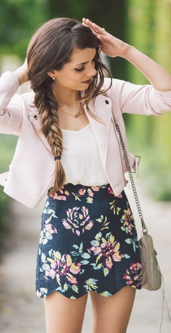 Cute floral prints skirt with pastel pink leather coat.