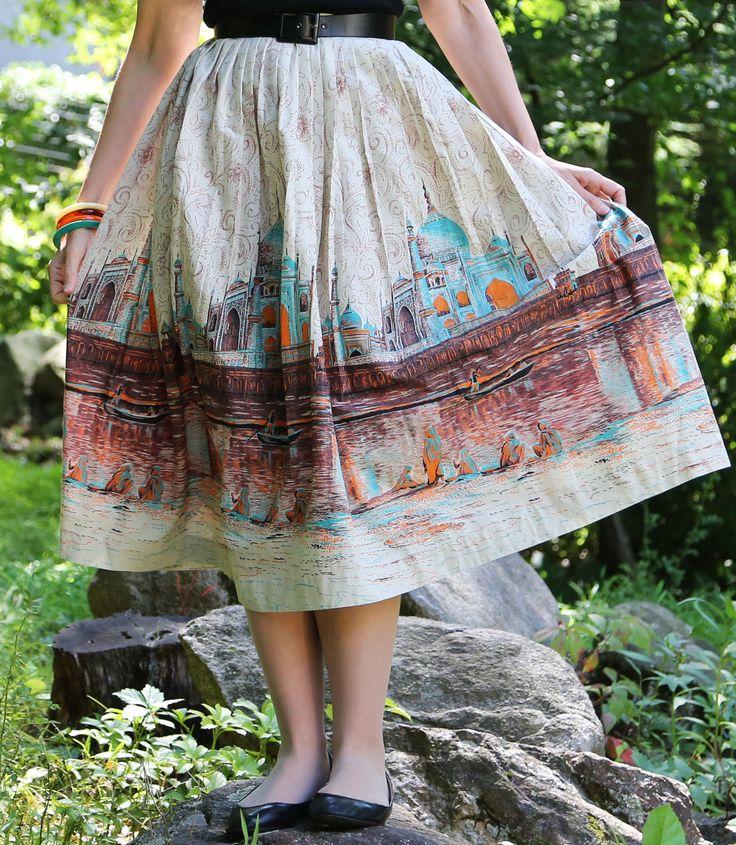 Taj Mahal Novelty Vintage Skirt