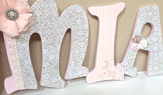 Custom Nursery Letters Baby Name Hanging Wooden Por