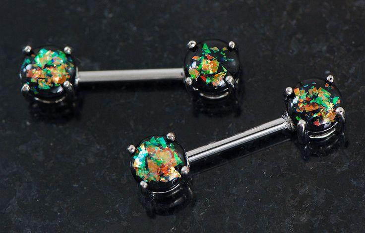 """Pair 14g 9 16"""" 14mm Length 316L Surgical Steel Dark Green Opalite Nipple Rings   eBay"""