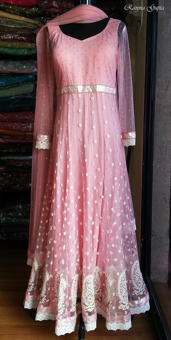 A baby pink Anarkali with thread work and diamentes...Design & creation by Ranjna Gupta