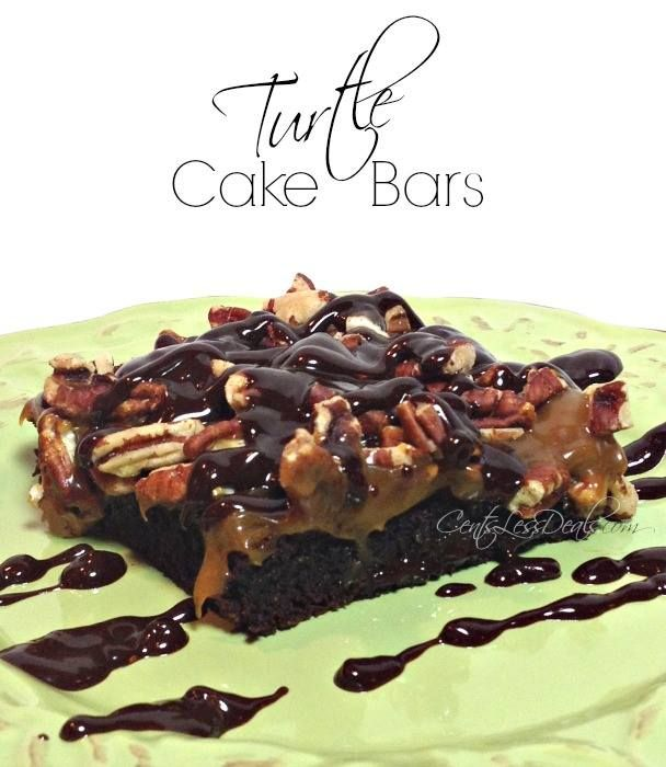 Turtle Cake Bars. These are super easy to make and words cannot even adequately describe how delicious these are!! When you really NEED chocolate, try this!